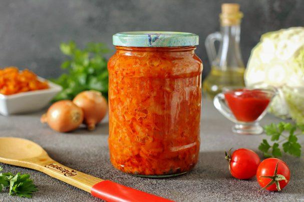 Капуста с томатной пастой на зиму