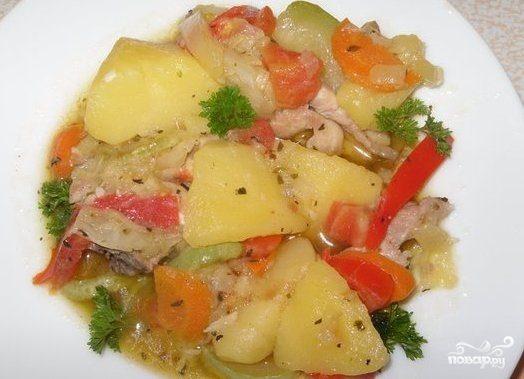 индейка с капустой и картошкой