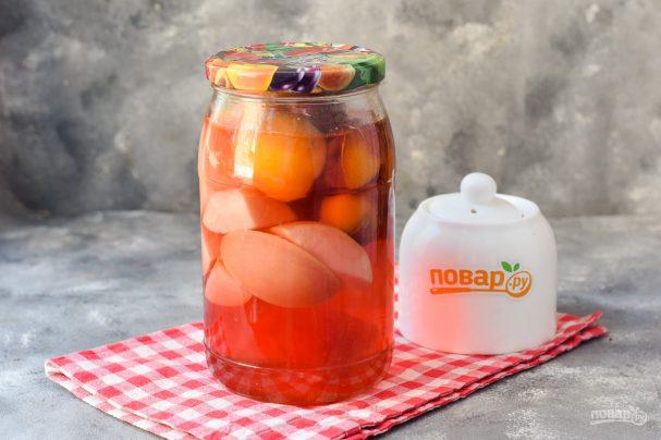 Компот из абрикосов, сливы и яблок на зиму