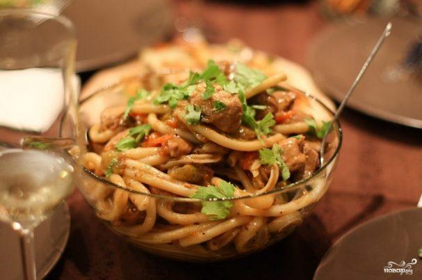 Спагетти со свининой