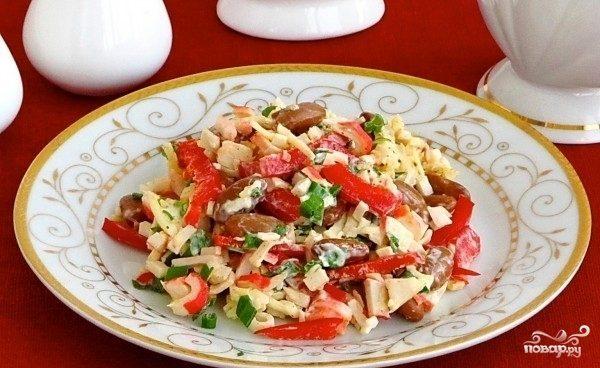 Крабовый салат с зеленым луком