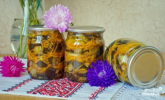 Баклажаны с морковкой и луком на зиму