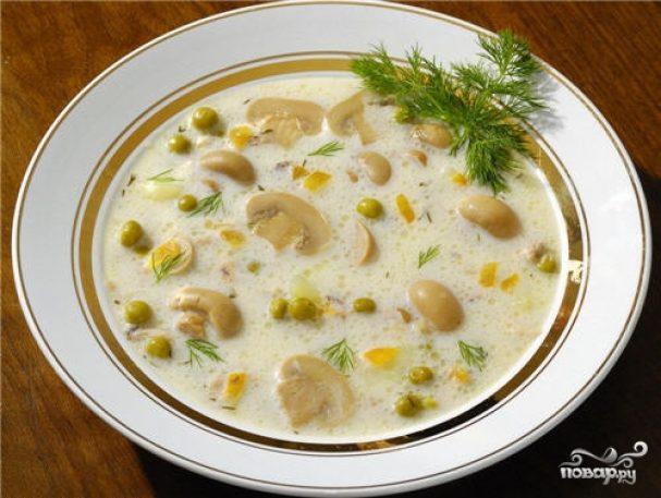 сырный крем-суп рецепт с плавленным сыром и шампиньонами