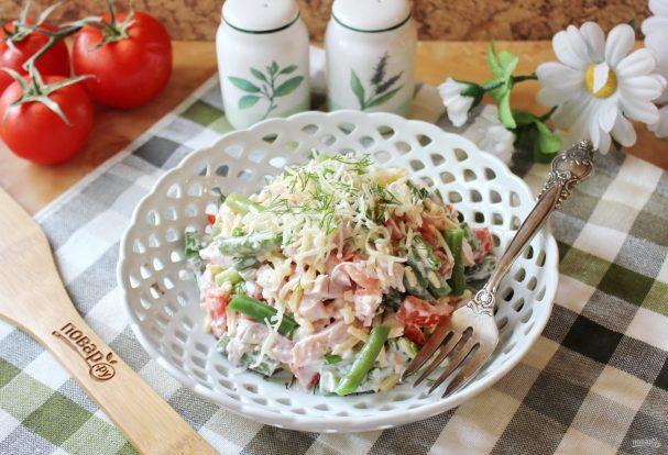 Салат из спаржевой фасоли с ветчиной