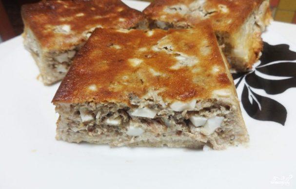 Пирог с консервой на кефире