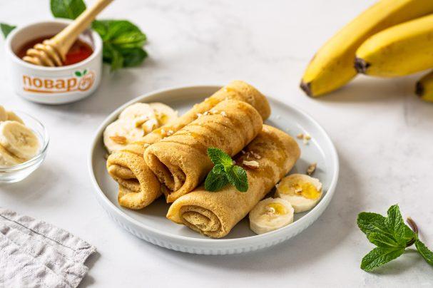 Постные блины с бананом