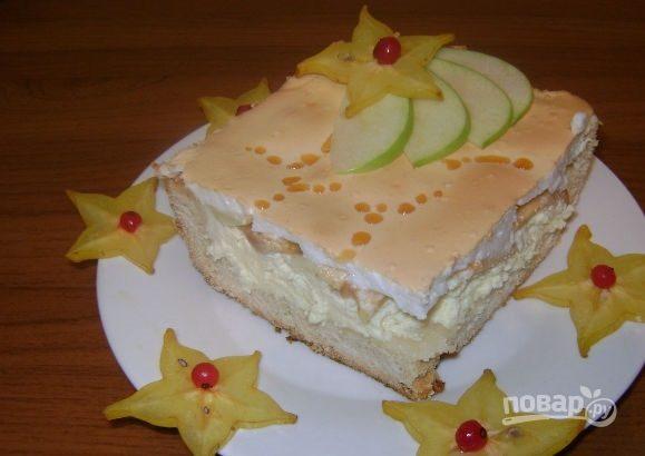 Пирог c воздушным творогом и яблоками