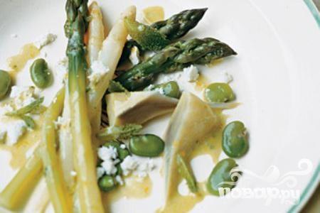 Салат из спаржи, артишоков и фасоли