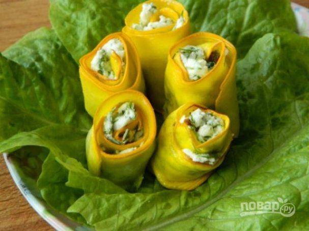 Кабачки диетические (рулетики с сыром)