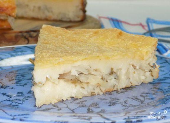 Пирог с капустой заливной на кефире