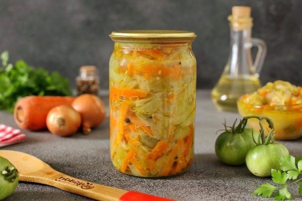 Салат из зеленых помидоров без стерилизации на зиму