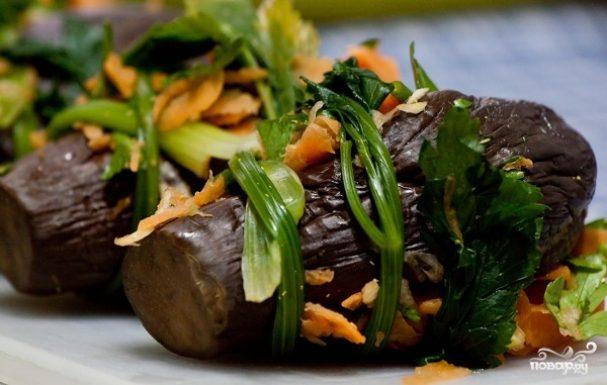 Баклажаны соленые фаршированные овощами - рецепт с фото на