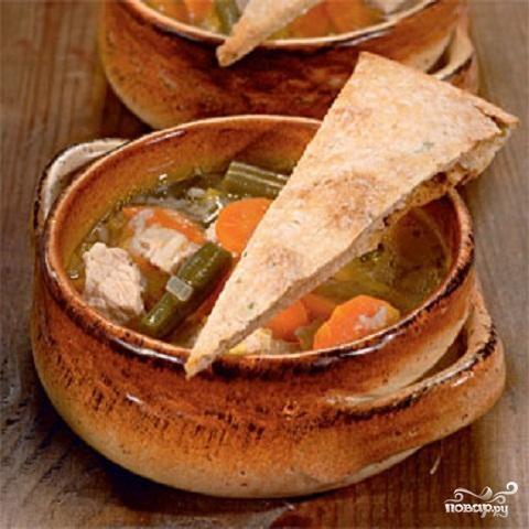 Суп из индейки с овсяными лепешками