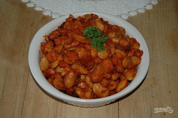 Бeлая фасоль в томатном соусе