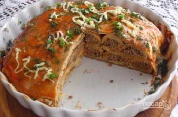 Блинный пирог с печенкой
