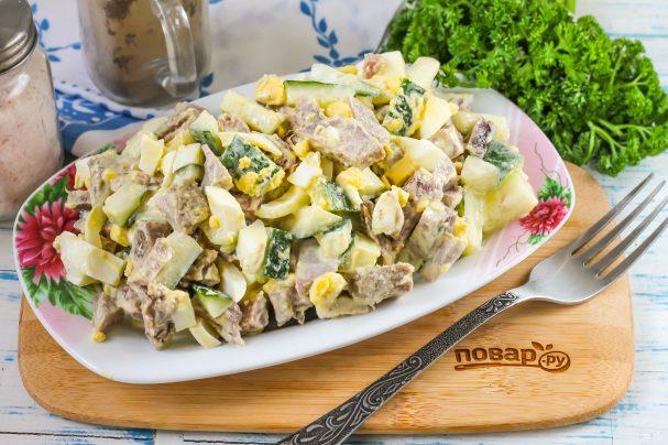 Салат из свиного языка с огурцом