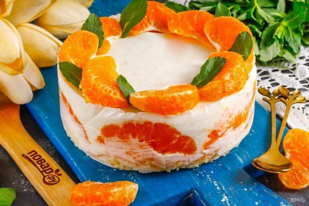 Муссовый мандариновый торт