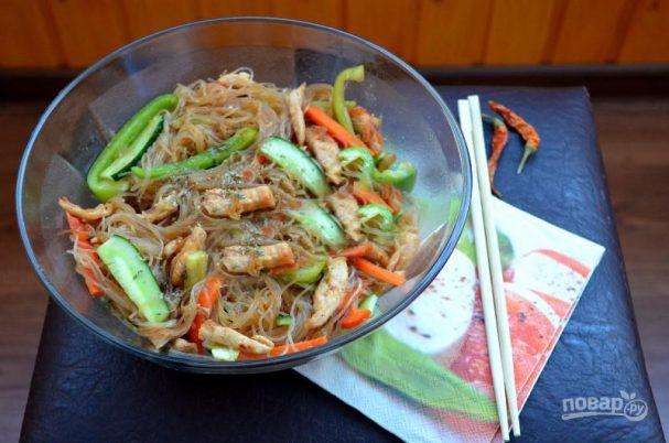 Рецепт салата из фунчозы с курицей