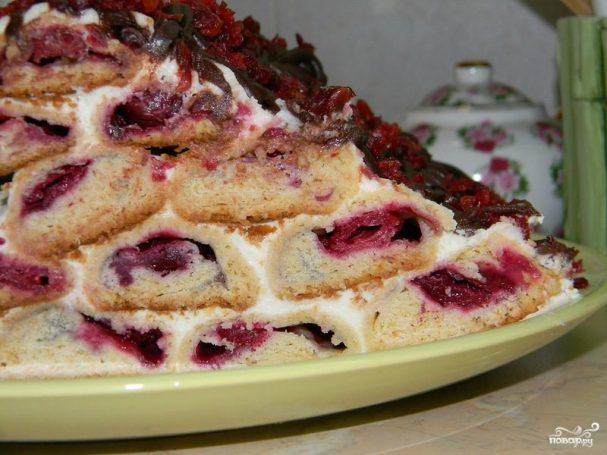 торт медовая горка с вишней рецепт с фото