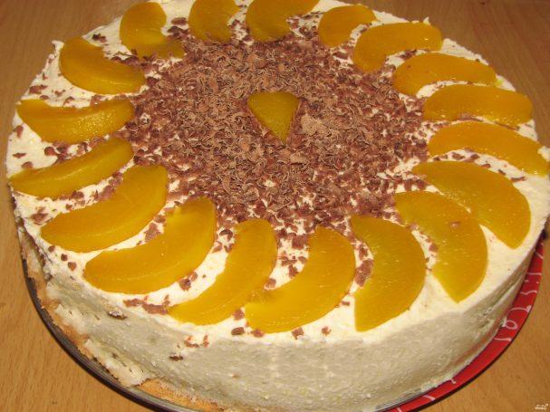 Персиковый торт с маскарпоне