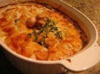 Запечённый картофель с грибами.