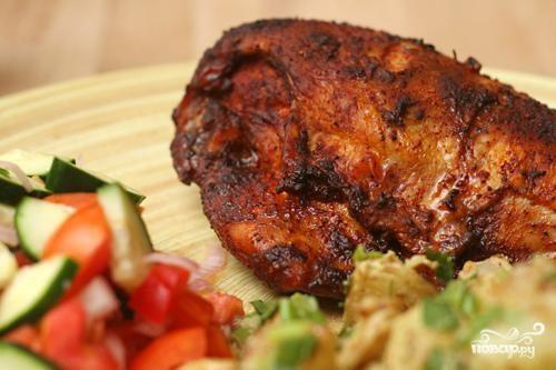 Запеченная курица с чили и перцем