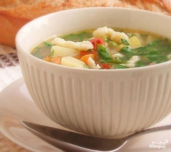Суп с клёцками без мяса