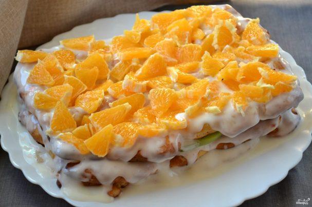 Торт из заварного теста с фруктами