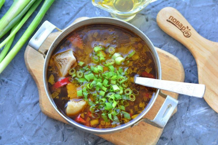 Нарежьте мелко зеленый лук и всыпьте в суп. Выключите огонь, суп готов. Дайте настояться 5-7 минут.