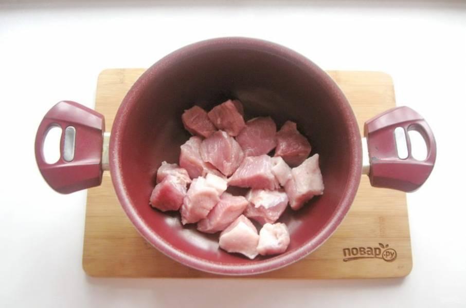 Свинину помойте и нарежьте небольшими кусочками. Выложите в кастрюлю с толстым дном.