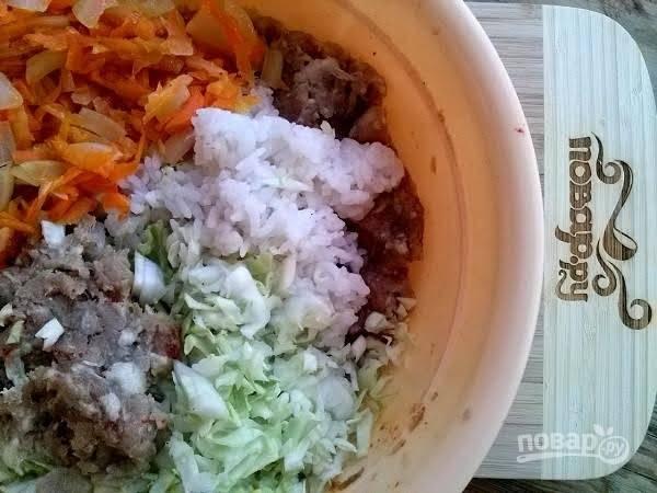 4. В миске смешайте фарш, рис, жареные лук и морковь, нарезанную капусту, яйца, соль и перец. Перемешайте до получения однородной массы.
