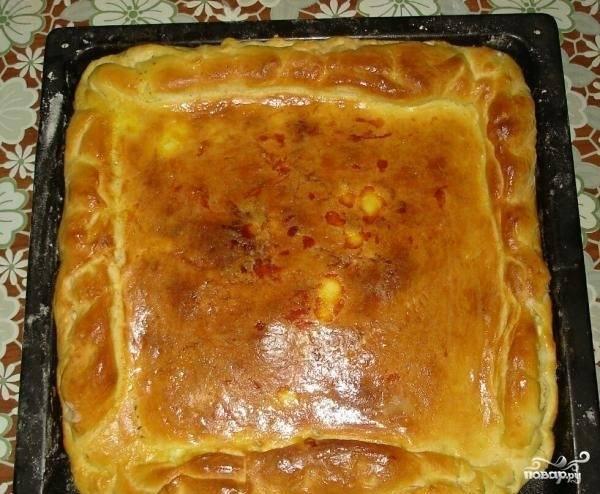 9. По истечении этого времени достаньте готовую выпечку. Теперь вы знаете, как приготовить пирог с рисом и фаршем, подавайте его к столу и пробуйте.