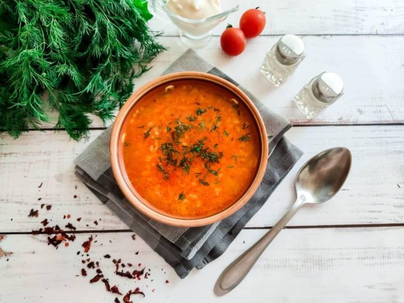 Томатный суп с курицей и рисом готов. Приятного аппетита!