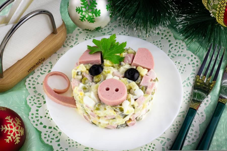 """""""Оливье"""" на Новый год в виде свинки"""