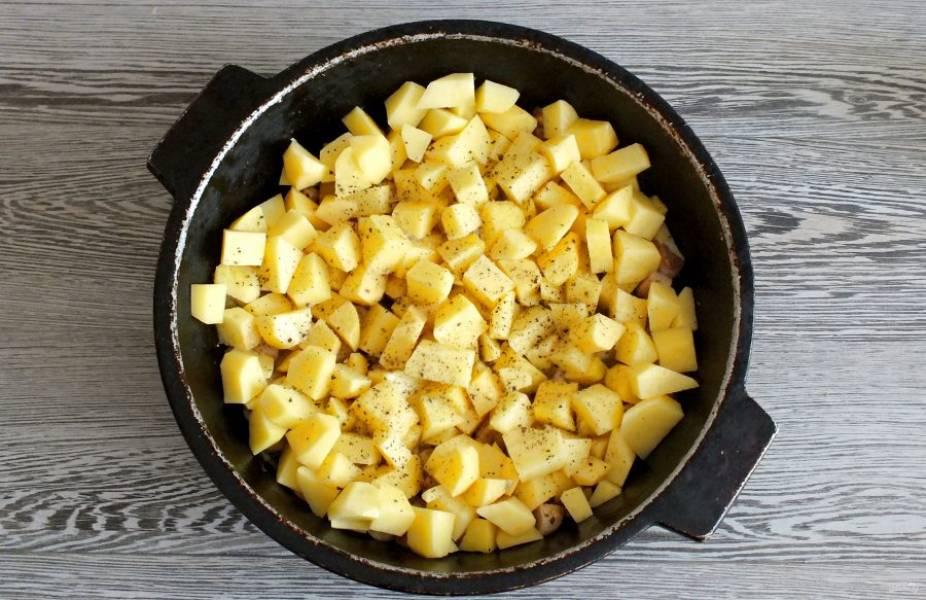 Нарежьте картофель небольшими кусочками, примерно как грибы. Переложите в жаровню. Посолите, добавьте по вкусу черный перец. Обжаривайте всё вместе, помешивая, в течение 7-10 минут.