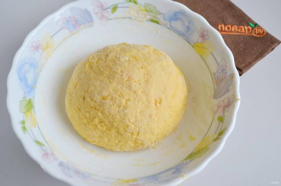 4. Замесите упругий колобок. Накройте сухой салфеткой тесто и уберите в тепло на 1,5-2 часа. Я ставлю в прогретую до 40 градусов духовку.