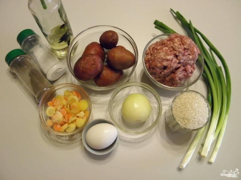 Подготовьте продукты для супа. Воду поставьте на плиту и доведите до кипения, посолите по вкусу. Очистите лук и морковь. У меня морковь была замороженная, она отлично подходит для супов, размораживать её предварительно не нужно.