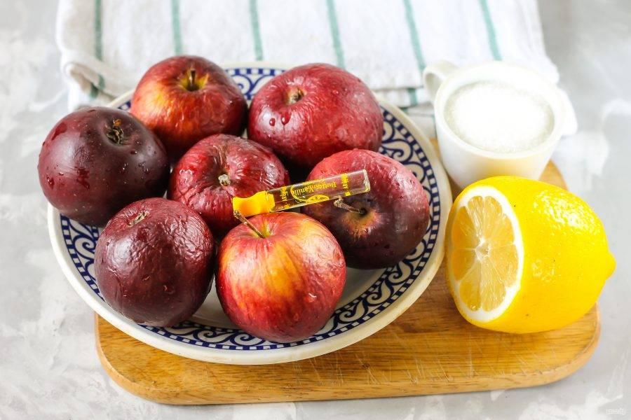 Расчет ингредиентов указан для двух банок по 0,3 литра. Подготовьте указанные продукты. Яблоки можно использовать любого сорта, но если они кисловатые, то вам придется немного увеличить норму сахарного песка.