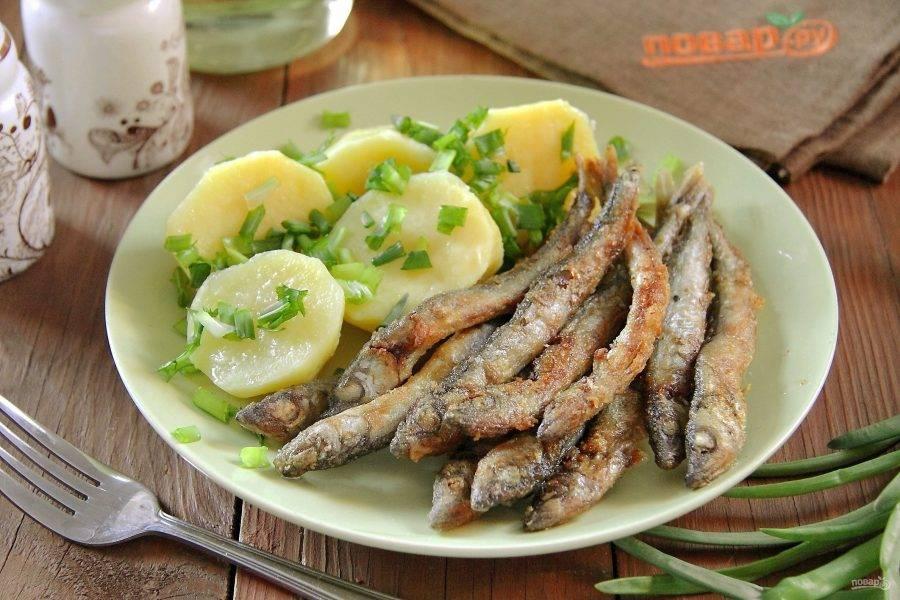 На тарелвку выкладываем жареную мойву, гарнир из картофеля и посыпаем блюдо нарезанным зеленым луком или любой другой зеленью. Мойва с картошкой готова. Подаем к столу и угощаемся. Приятного аппетита!
