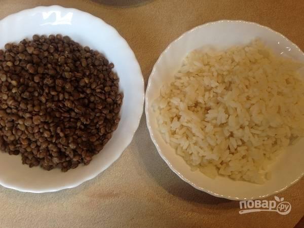 1. Первым делом отварим рис и чечевицу до готовности в подсоленной воде. Остужаем.