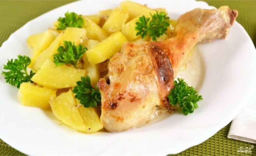 Курица с картошкой в сметане