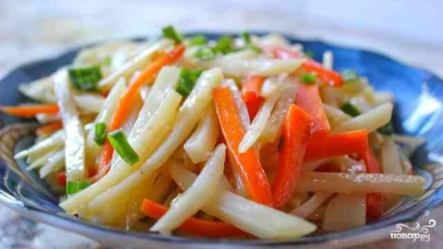5. Жареная картошка с луком и морковкой в домашних условиях может готовиться от 7-10 до 30 минут, в зависимости от толщины брусочков и желаемой степени зажаренности. В конце процесса посолите как следует, добавьте перец или другие специи по вкусу, присыпьте луком.