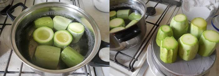 В кипящую, подсолёную воду опустить кабачки и варить до полуготовности 4-5 мин. Осторожно вынуть из воды, положить на сито или тарелку, чтобы с них стекла вода.