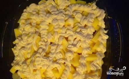 2. Чернослив предварительно замочим в кипятке, отожмем и измельчим в блендере. Выкладываем эту кашицу поверх лука, затем - слой картофеля. Солим картошку, обильно смажем майонезом.