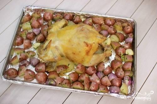 Через 15 минут вынимаем противень из духовки по выкладываем вокруг курицы весь картофель. Если курица выделила сок, желательно слить его в отдельную посуду, затем выложить картофель.
