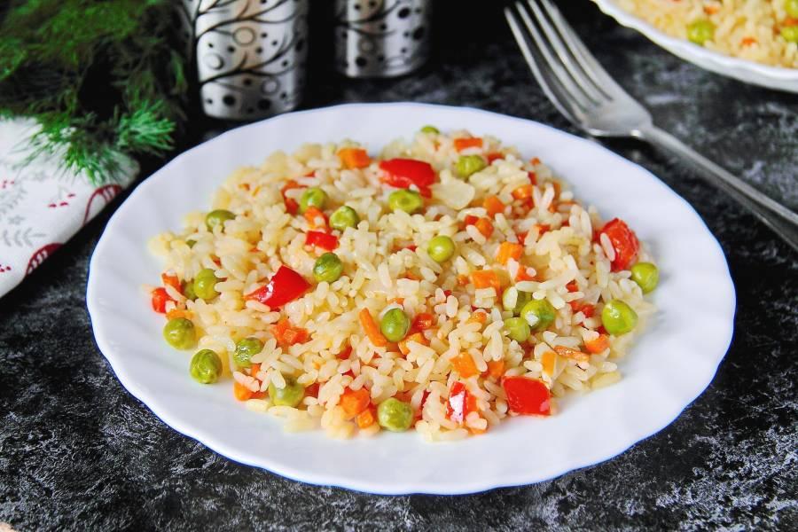 Рис с горохом и сладким перцем