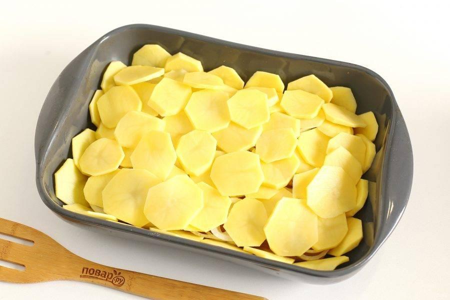 Далее в 2-3 слоя выложите нарезанный кружочками картофель. Каждый слой смажьте майонезом или сметаной и посыпьте солью.