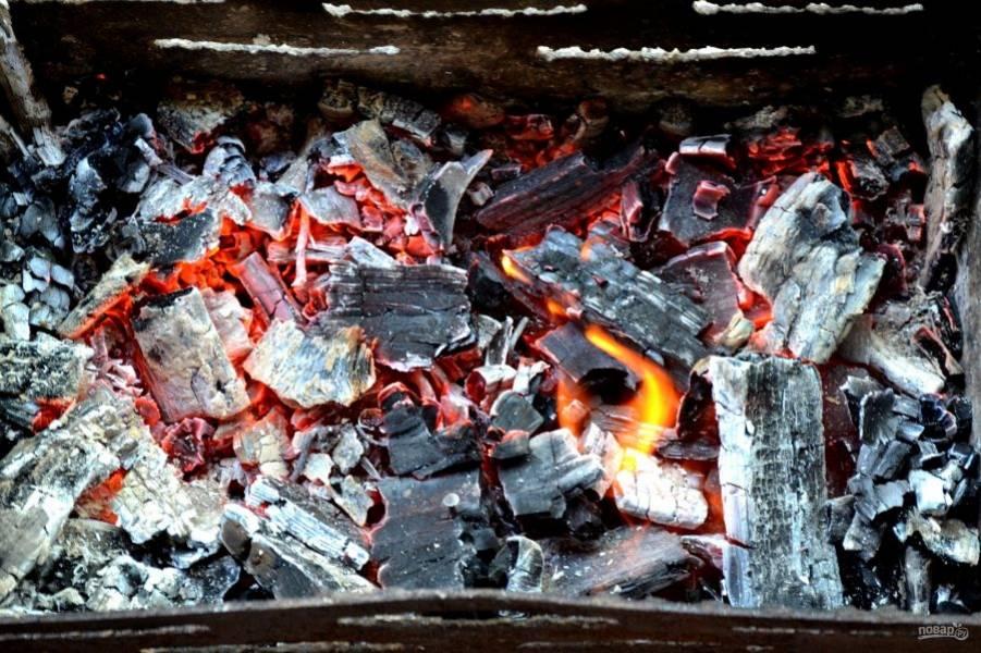 Интенсивный жар не нужен, угли должны быть не слишком горячими.