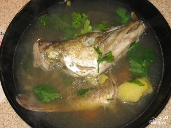 Минут через 10 все овощи будут практически готовы. По желанию, можете вынуть рыбу из бульона. Засыпаем в кипящую уху манку и даем покипеть минут 5. Добавляем зелень, лавровый лист и доводим до нужного нам вкуса. Добавляем столовую ложку сока лимона и выключаем плиту. Уха готова!