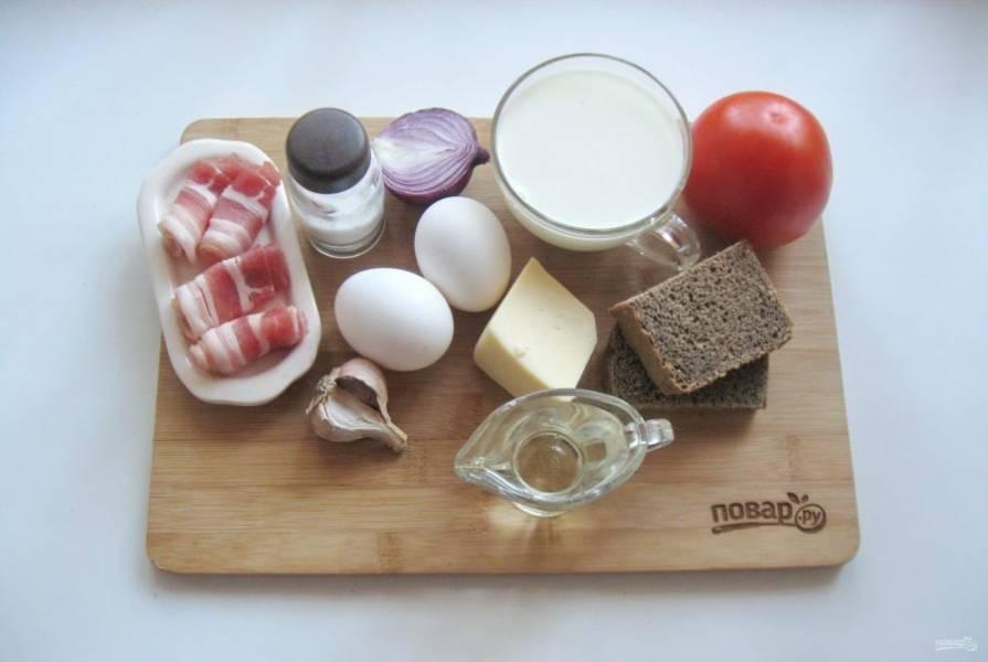 Подготовьте ингредиенты для приготовления яичницы по-кончаловски.